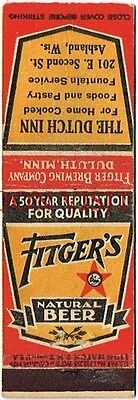 1930s Fitger's Natural Duluth MN Ashland Wisconsin Beer matchcover Tavern Trove