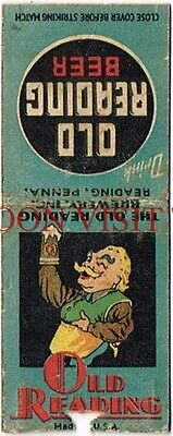 1930s Old Reading Beer Pennsylvania Matchcover Tavern Trove