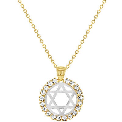 """18k Gold Plated Judaism Star Of David Necklace Clear Crystal Medal Pendant 19"""""""