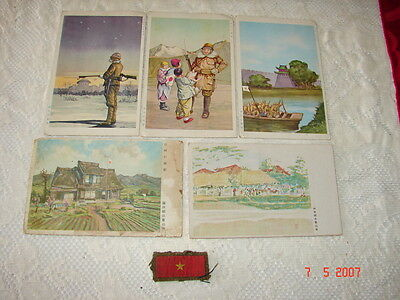 From WW2 GI's Estate - 5 Japanese Postcards PLUS PATCH - Colorful - Unposted