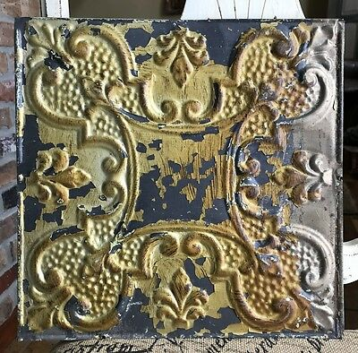 "12"" Antique Tin Ceiling Tile - Metallic Gold Paint - Beautiful Design - A4"