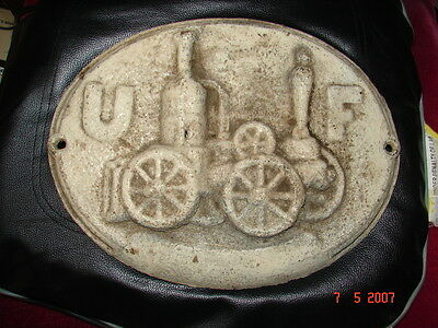 "ANTIQUE CAST IRON PLAQUE MARK - UNITED FIRE INSURANCE - 11 1/2"" x 9"""