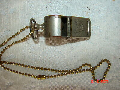Very Old RK BIRD Whistle with Chain - Police - Military - Scouts