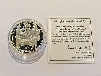 1991 Barbados $10 Sterling Silver Proof 500Th Anniversary Of Columbus W/ Coa