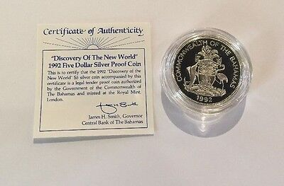 "1992 Bahamas $5 Sterling Silver Proof ""discovery Of The New World"" W/ Coa"