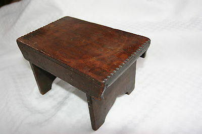 Antique Wooden Wood Cricket Stool Footstool Square Nails Boot Jack Ends