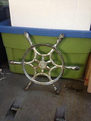 "1930's 14"" Ornate Cast Iton Ships Wheel"