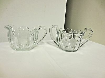 Etched Floral Pressed Glass Creamer and Open Sugar Bowl-Paneled Scallop Edge