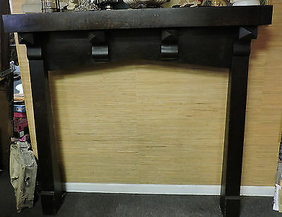 Antique Tiger Oak Quarter Sawn Arts & Crafts Mission Empire Fireplace Mantel