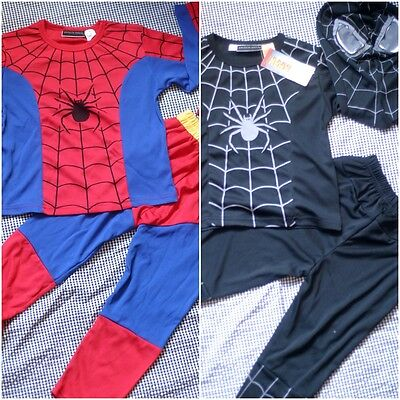 W033CD Kid Boys RED Black Spiderman Costume Carnival Fancy Dress Outfit 2-8 Year