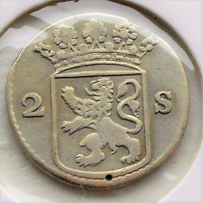 Silver 1757 Dutch Netherlands Colonial Holland 2 Stuivers Cirulated # WB 6