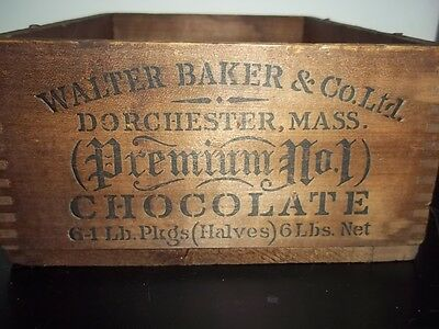 Antique Walter Baker & Co Chocolate 6 POUND Paris Exposition Wood Box GOLD MEDAL