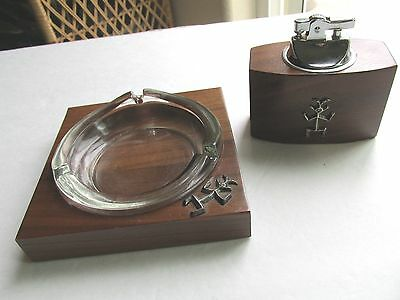 SOLID AMERICAN Ashtray Lighter Set in Walnut Wood Vintage Excellent SEE