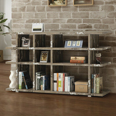 Industrial Salvaged Cabin Bookcase Multi level Bookshelf Silver metal Shelves