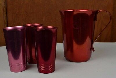Color Craft Aluminum Anodized Pitcher 3 Tumblers Farmhouse 50's Red Kitchy Vtg