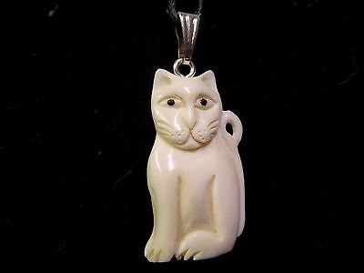 Cat Hand Carved 3D Double Sided Water Buffalo Bone Pendant Necklace With Cord