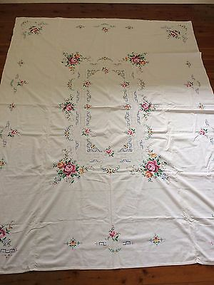 Large Vintage Hand Embroidered  ROSES  Tablecloth 208 cm x 164 cm