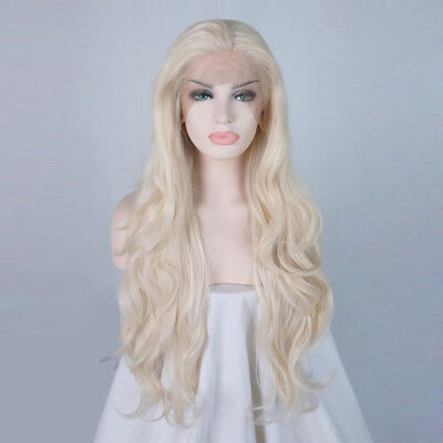 Women Lace Front Heat Resistant Hair Popular Long 24 Inches Light Blonde Wig