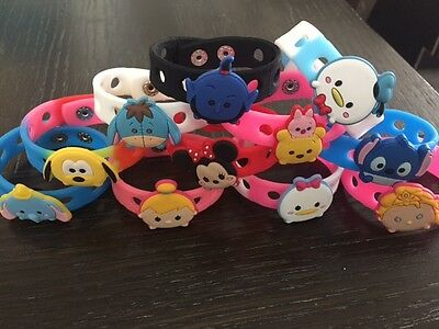 12 Tsum Tsum Silicone Wristbands with charms Birthday Party Favor Bracelets