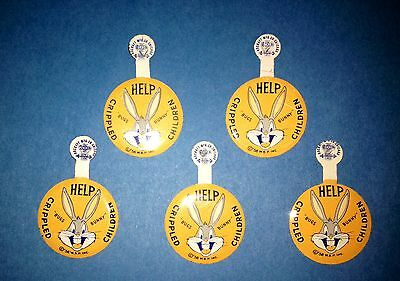 Rare 5 Lot Vintage 1956 Bugs Bunny Advertising Buttons Help Crippled Children