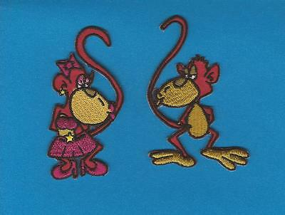 2 Lot Cartoon Monkeys Embroidered Iron On Hat Jacket Hoodie Backpack Patches
