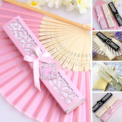 Chinese Silk Fabric Folding Held Dance Hand Fan Party Favors Wedding Prom Gift
