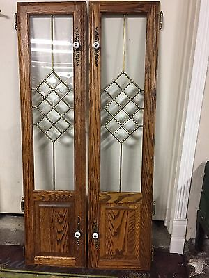 Vintage Antique Leaded Glass Oak Cabinet Doors With Brass Inserts