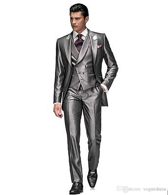 New Grey 3 Piece Mens Wedding Suits Slim Fit Groom Tuxedos Best Man Suits Custom