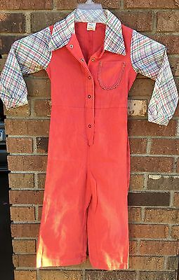 Vtg Sears Bell Bottom Jumpsuit Girls Sz 5 Retro Original Rare True 60's 70's