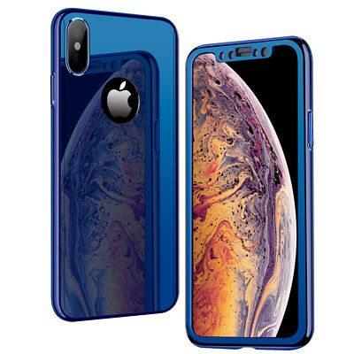 360° Full Mirror Case +Tempered Glass Cover for iPhone XS Max XR X 8 7 6 Plus