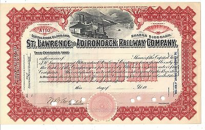 St. Lawrence And Adirondack Railway Company....unissued Stock Certificate