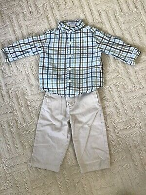 janie and jack boys long sleeve button down shirt size 6-12 months EUC