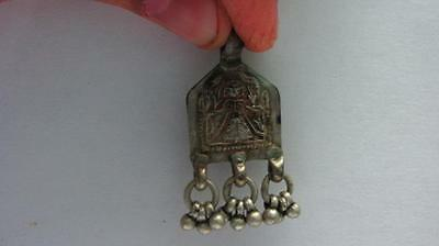 Old Vintage Tribal Indian Goddess Solid Silver Amulet Pendant Jewellery