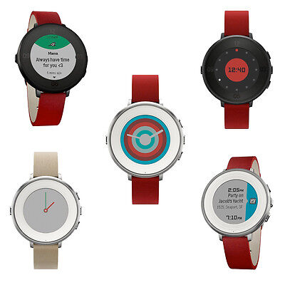 Pebble S4.0 Time Round Smartwatch 14mm Stainless Steel with Leather Strap