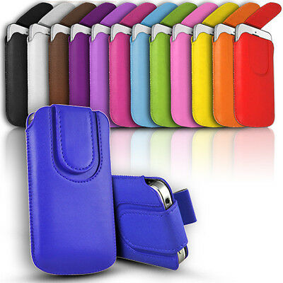 Quality Slim Magnetic Leather Pull Tab Flip Case Cover Pouch for Various Phones