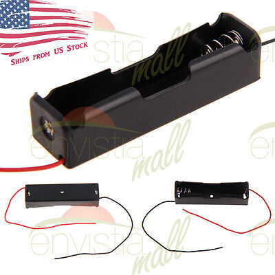 """1S Battery Holder Case Clip Box  for 1X 18650 3.7V Li-Ion with 6"""" Wire Leads USA"""
