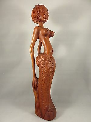 Vintage AFRICAN NUDE WOMAN WOOD ART CARVING Tribal Native VOLUPTUOUS SCULPTURE