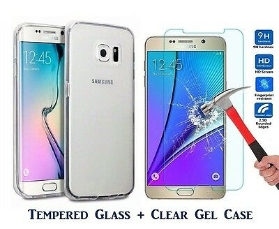 For Samsung Galaxy J5 (2016) Tempered Glass Screen Protector & Clear TPU CASE