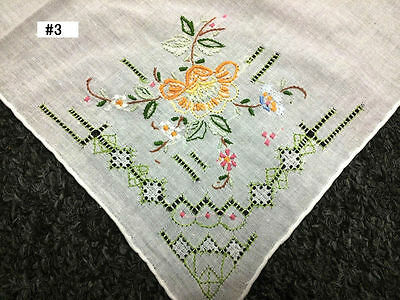 12 Pieces Hand Stitch Embroidered Embroidery Fine Linen Handkerchief Hankie #3