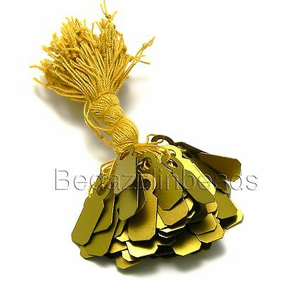 Lot of 100 Little Gold Plastic Jewelry Price Label Tags w/ String For Small Item