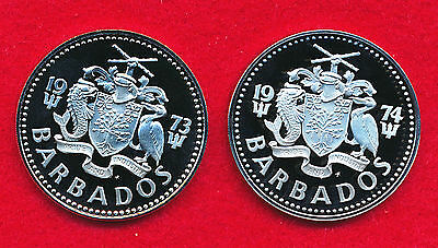 Barbados 1973 & 1974 2 DOLLARS (2 Coins)  Copper-Nickel
