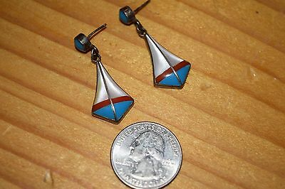 Wonderful Pair Of Vinta Sterling Silver Coral Zuni Pueblo Earrings/superb16 L@@k