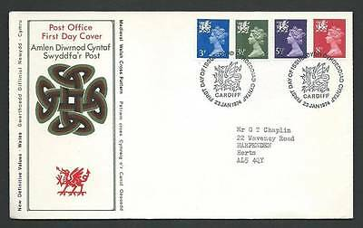 GB 1974 FDC. Wales New Definitive Values 23/01/74. Cancel Cardiff