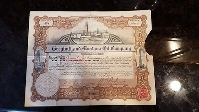 Greybull Montana and Oil Company Oil Stock Certificate