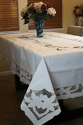 "100% Cotton Embroidered Tablecloth 72x108"" 8 Napkins Beige Ivory Vintage Style"