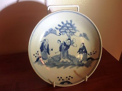 "Antique Chinese Blue White 6 3/4"" Plate 19th century"