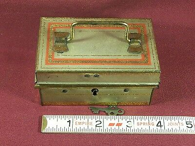 Antique Money Cash Strong Box Lock Box Miniature Salesman Sample w/ Key