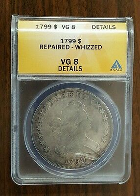 1799 ANACS VG8 Details Draped Bust Silver Dollar