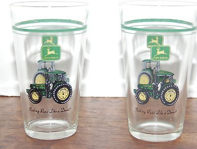 John Deere Tractor Advertising Glasses Lot of 2 NICE