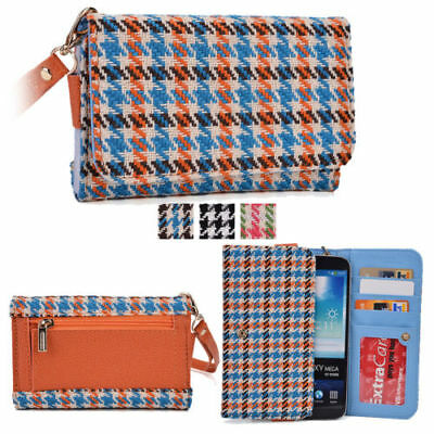 KroO Universal Houndstooth Clutch Wristlet Wallet with Phone Pouch fits LG V20